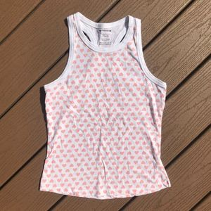 Tops - Baby Pink Hearts Racer Back Tank Top Sz S
